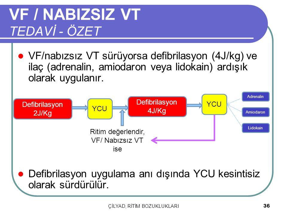 VF / NABIZSIZ VT TEDAVİ - ÖZET