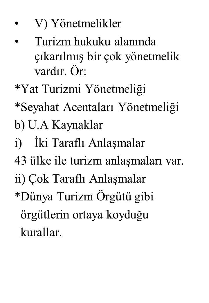 V) Yönetmelikler Turizm hukuku alanında çıkarılmış bir çok yönetmelik vardır. Ör: *Yat Turizmi Yönetmeliği.