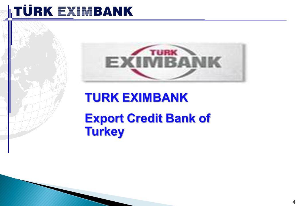 Kısaca Türk Eximbank 1987 Yılında Bakanlar Kurulu Kararı ile Kurulan (Devlet Yatırım Bankası'ndan Dönüştürülmüştür) Türk Eximbank ın temel amacı;