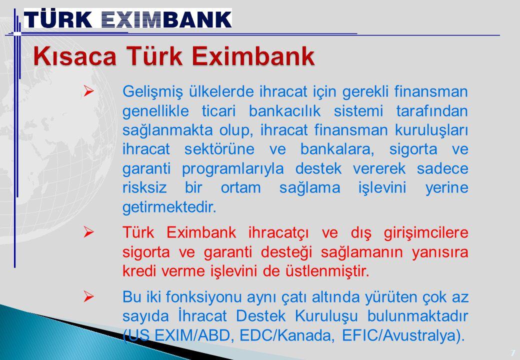 Türk Eximbank ın faaliyetleri;