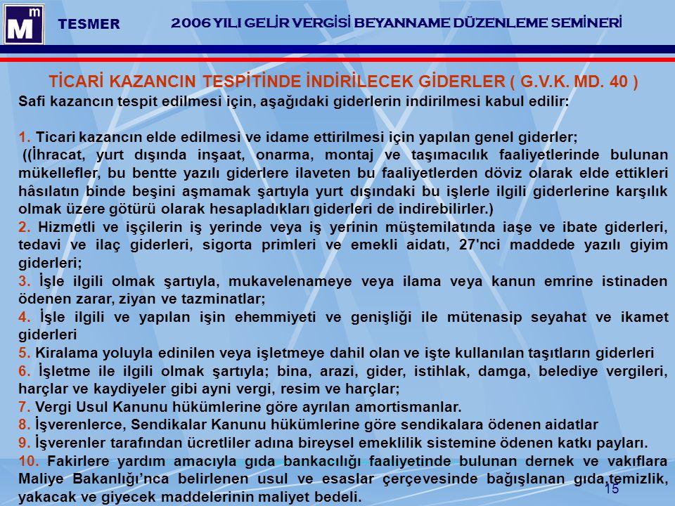 TİCARİ KAZANCIN TESPİTİNDE İNDİRİLECEK GİDERLER ( G.V.K. MD. 40 )