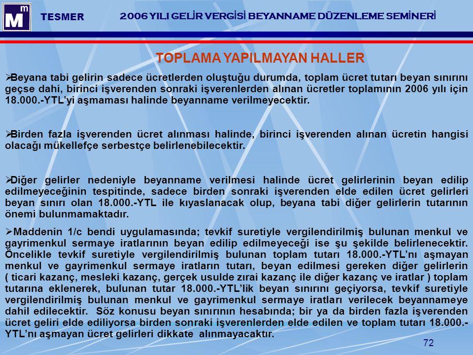 TESMER 2006 YILI GELİR VERGİSİ BEYANNAME DÜZENLEME SEMİNERİ. TOPLAMA YAPILMAYAN HALLER.