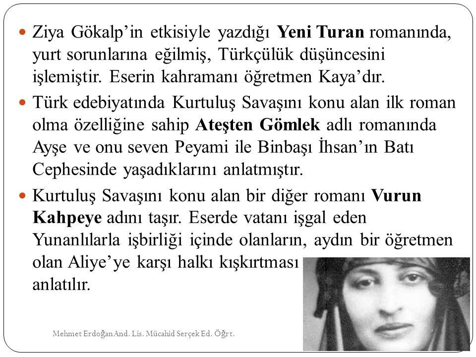 Ziya Gökalp'in etkisiyle yazdığı Yeni Turan romanında, yurt sorunlarına eğilmiş, Türkçülük düşüncesini işlemiştir. Eserin kahramanı öğretmen Kaya'dır.
