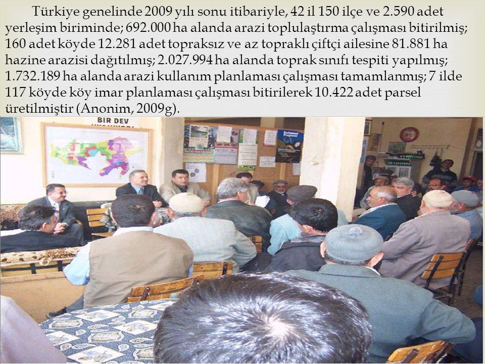 Türkiye genelinde 2009 yılı sonu itibariyle, 42 il 150 ilçe ve 2