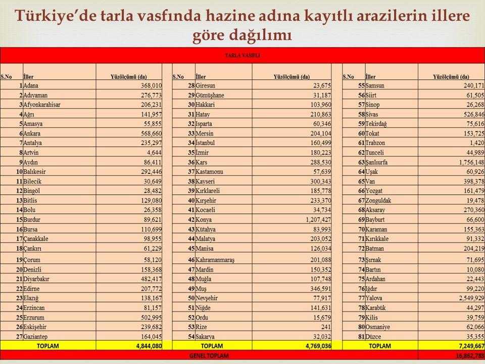 Türkiye'de tarla vasfında hazine adına kayıtlı arazilerin illere göre dağılımı