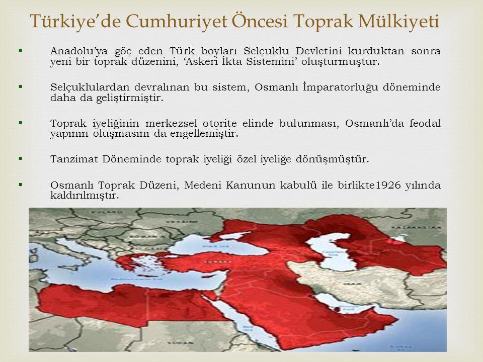Türkiye'de Cumhuriyet Öncesi Toprak Mülkiyeti