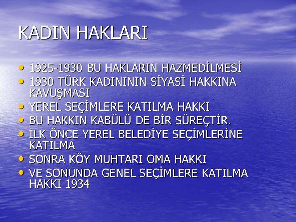 KADIN HAKLARI 1925-1930 BU HAKLARIN HAZMEDİLMESİ