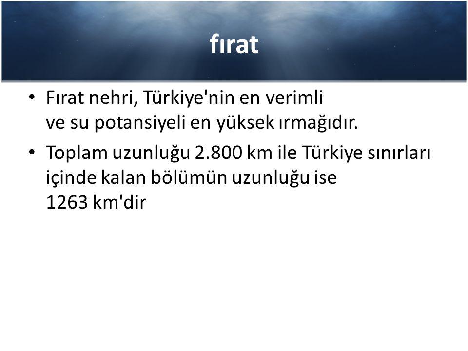 fırat Fırat nehri, Türkiye nin en verimli ve su potansiyeli en yüksek ırmağıdır.