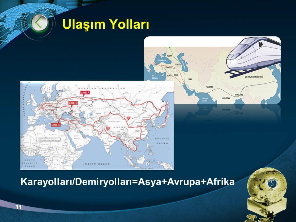 Ulaşım Yolları Karayolları/Demiryolları=Asya+Avrupa+Afrika 11