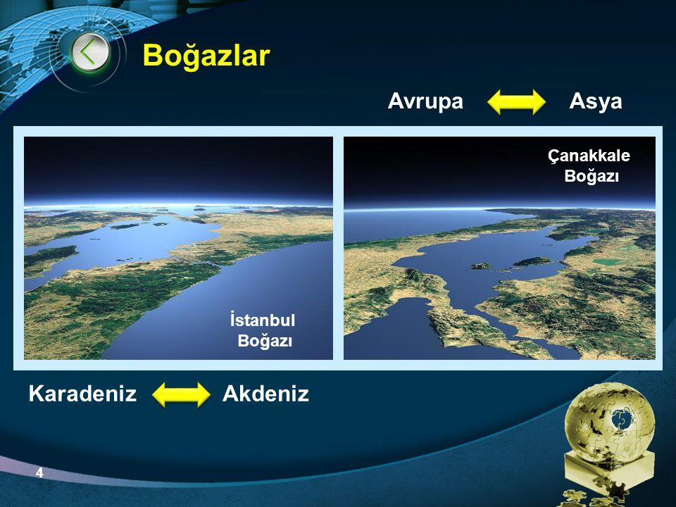 Boğazlar Avrupa Asya Karadeniz Akdeniz Çanakkale Boğazı İstanbul