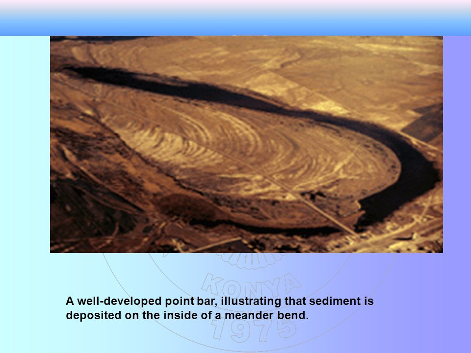 A well-developed point bar, illustrating that sediment is deposited on the inside of a meander bend.