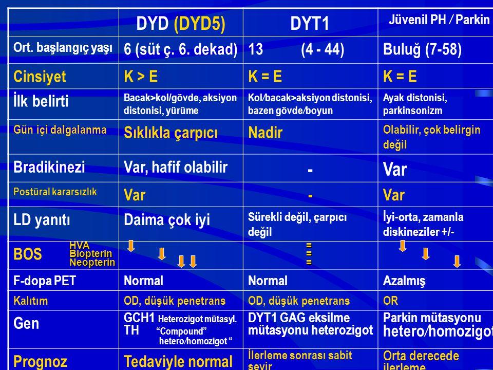 DYD (DYD5) DYT1 - Var 6 (süt ç. 6. dekad) 13 (4 - 44) Buluğ (7-58)