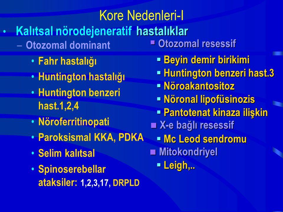 Kore Nedenleri-I hastalıklar X-e bağlı resessif Mitokondriyel