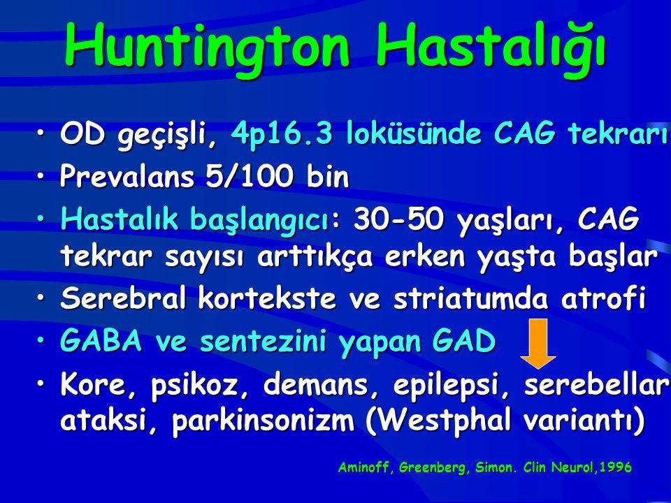 Huntington Hastalığı OD geçişli, 4p16.3 loküsünde CAG tekrarı