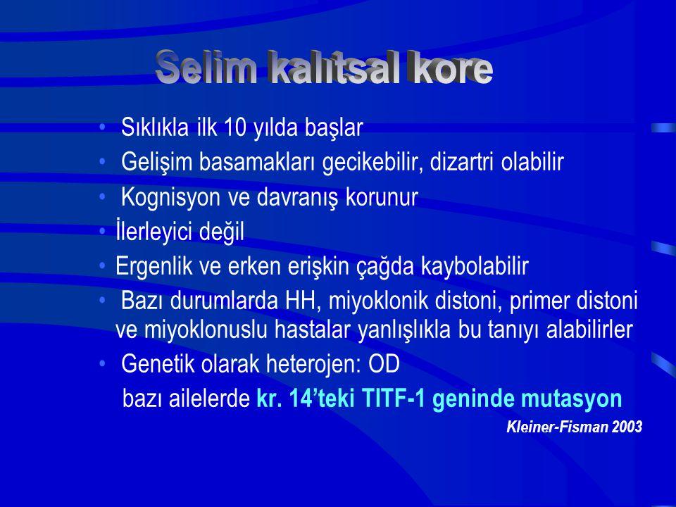 Selim kalıtsal kore Sıklıkla ilk 10 yılda başlar