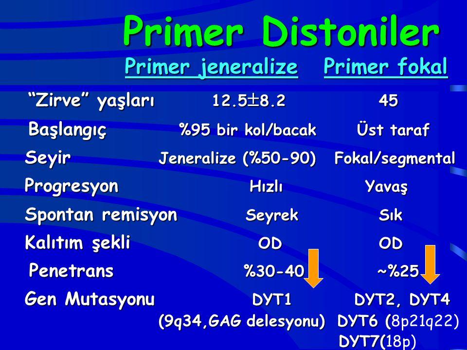 Primer Distoniler Primer jeneralize Primer fokal