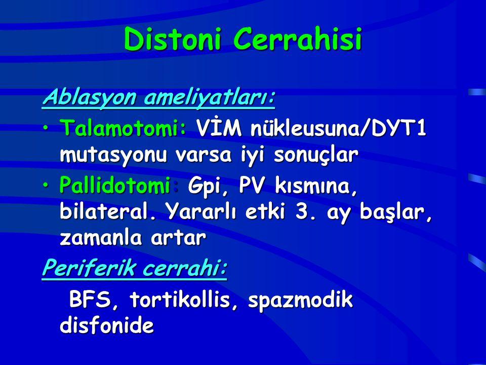 Distoni Cerrahisi Ablasyon ameliyatları: