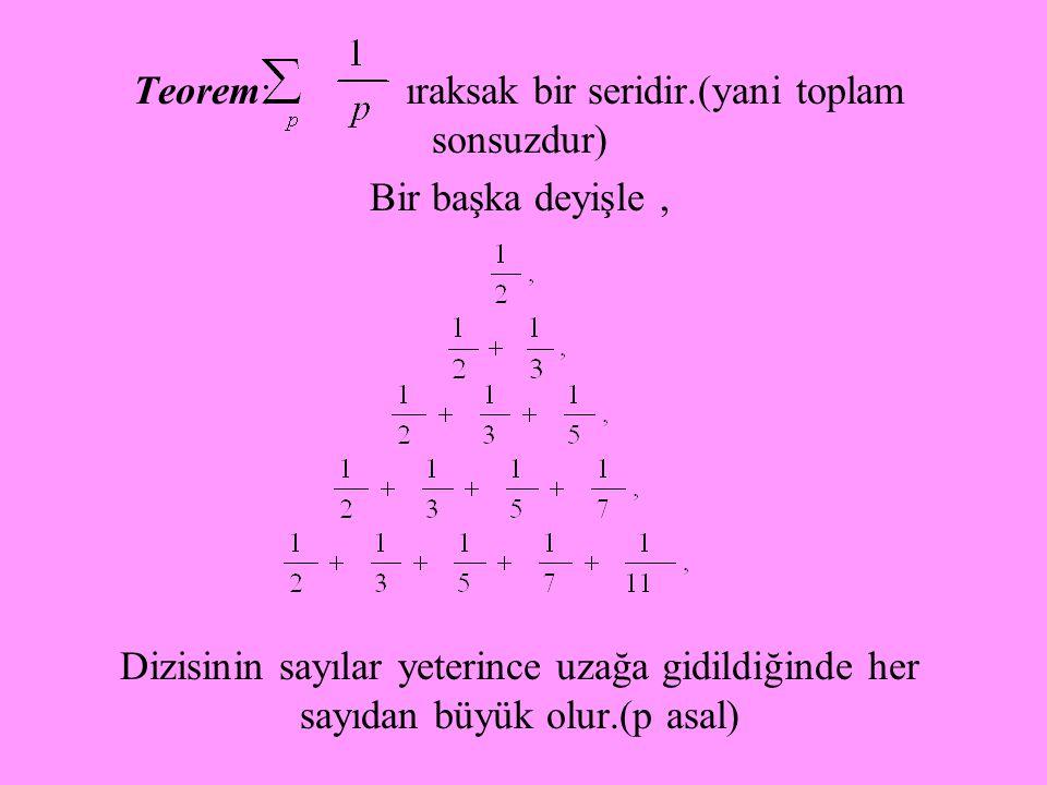 Teorem: ıraksak bir seridir.(yani toplam sonsuzdur)
