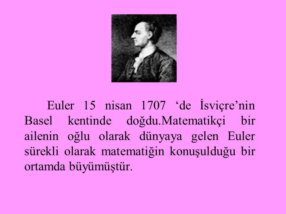 Euler 15 nisan 1707 'de İsviçre'nin Basel kentinde doğdu