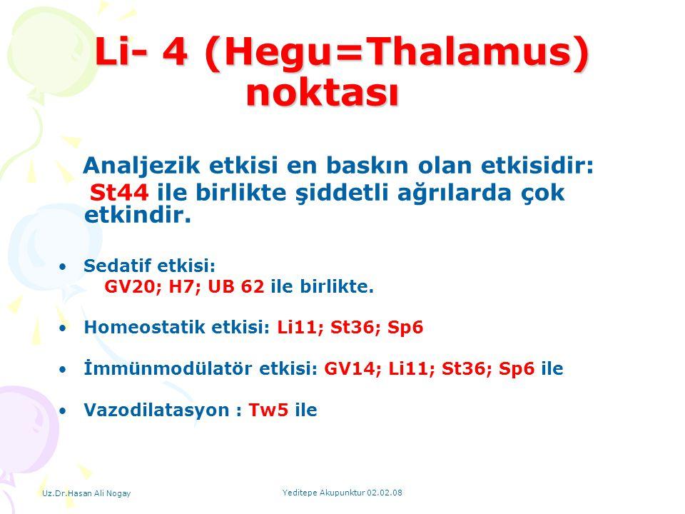 Li- 4 (Hegu=Thalamus) noktası