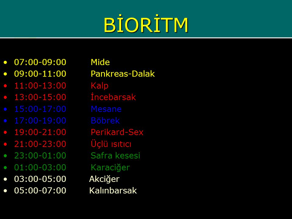 BİORİTM 07:00-09:00 Mide 09:00-11:00 Pankreas-Dalak 11:00-13:00 Kalp