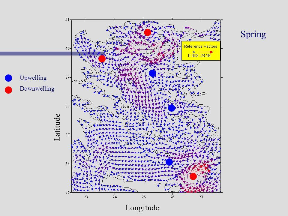 Spring Upwelling Downwelling Latitude Longitude