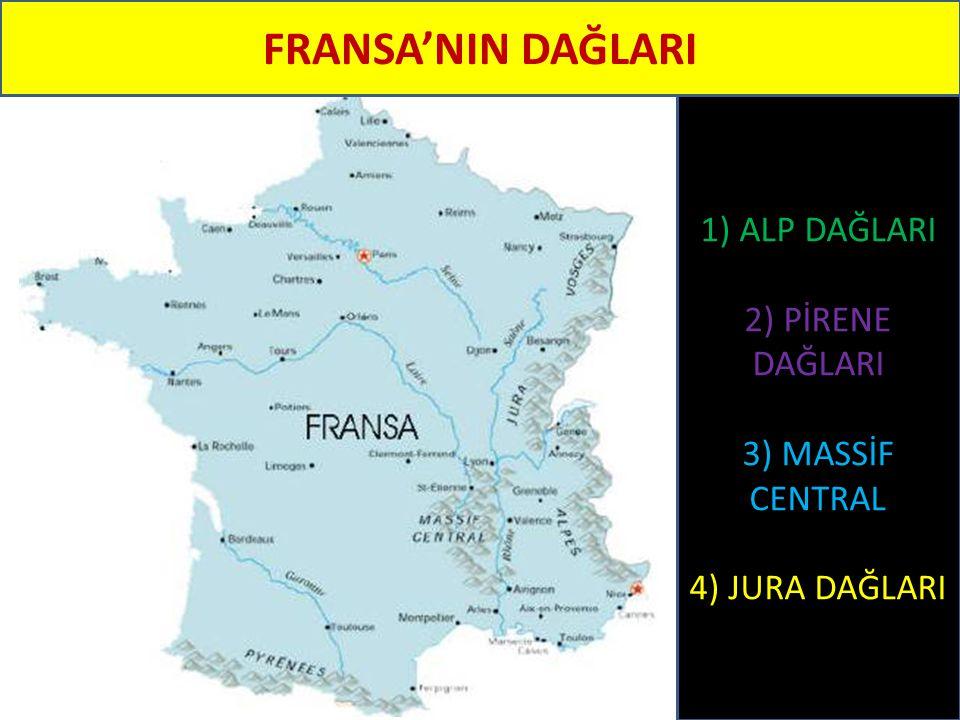 FRANSA'NIN DAĞLARI 1) ALP DAĞLARI 2) PİRENE DAĞLARI 3) MASSİF CENTRAL