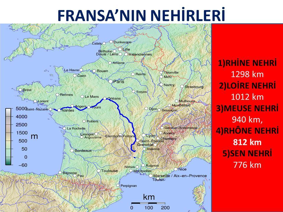 FRANSA'NIN NEHİRLERİ 1)RHİNE NEHRİ 1298 km 2)LOİRE NEHRİ 1012 km