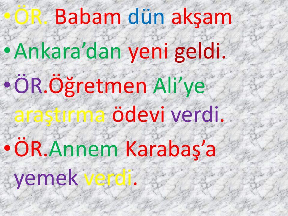 ÖR. Babam dün akşam Ankara'dan yeni geldi. ÖR.Öğretmen Ali'ye araştırma ödevi verdi.