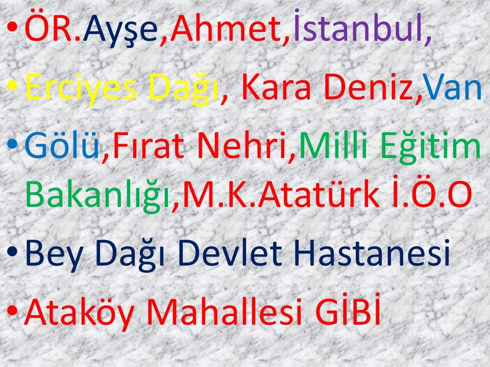 ÖR.Ayşe,Ahmet,İstanbul, Erciyes Dağı, Kara Deniz,Van. Gölü,Fırat Nehri,Milli Eğitim Bakanlığı,M.K.Atatürk İ.Ö.O.