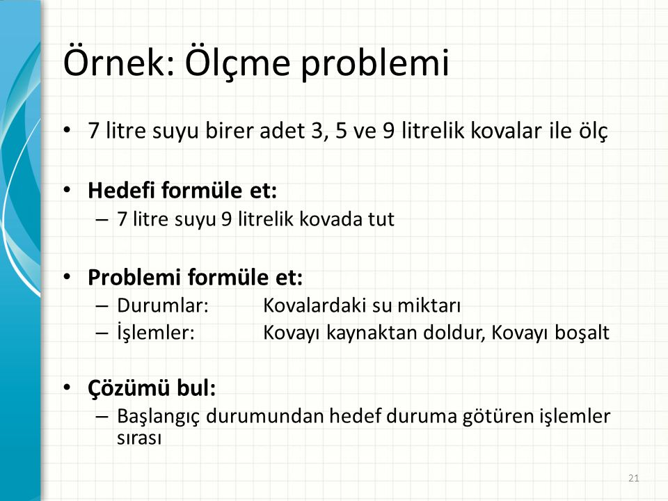 Örnek: Ölçme problemi 7 litre suyu birer adet 3, 5 ve 9 litrelik kovalar ile ölç. Hedefi formüle et: