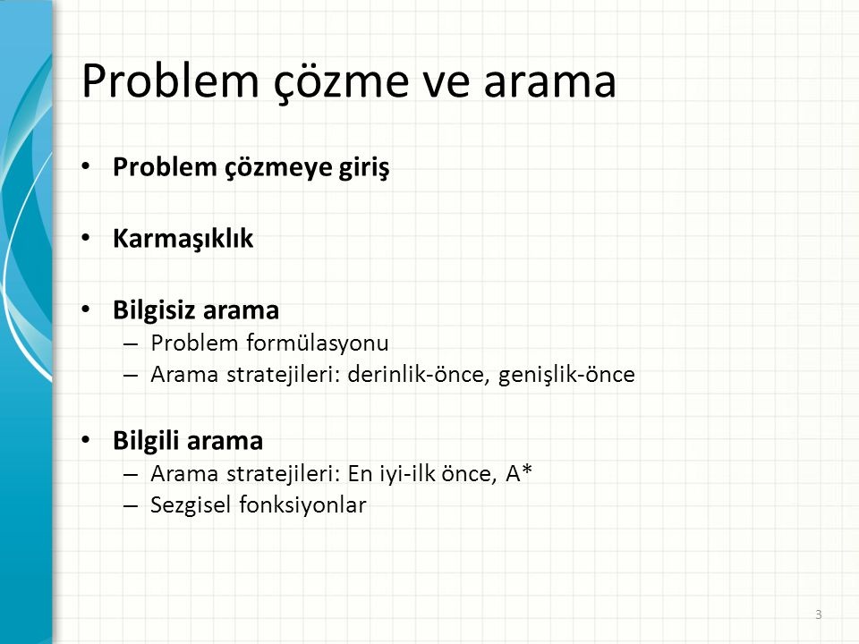 Problem çözme ve arama Problem çözmeye giriş Karmaşıklık