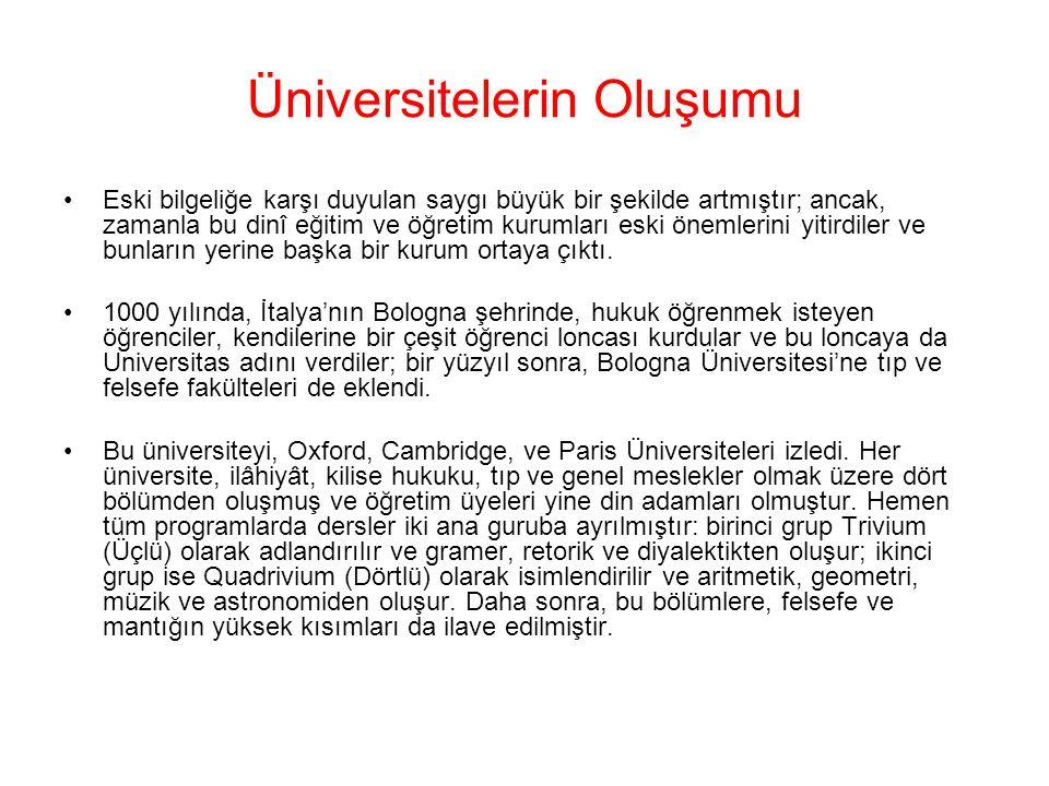 Üniversitelerin Oluşumu