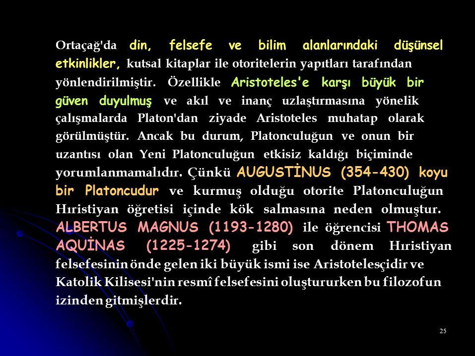 Ortaçağ da din, felsefe ve bilim alanlarındaki düşünsel