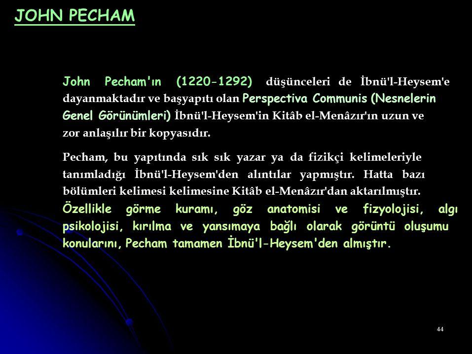 JOHN PECHAM John Pecham ın (1220-1292) düşünceleri de İbnü l-Heysem e
