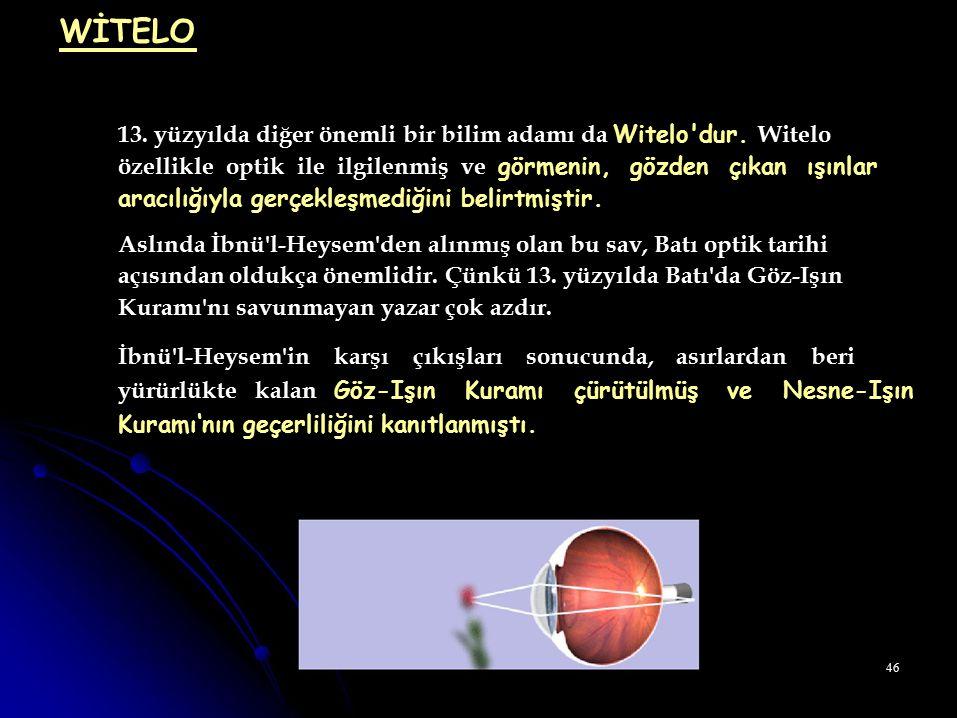 WİTELO 13. yüzyılda diğer önemli bir bilim adamı da Witelo dur. Witelo
