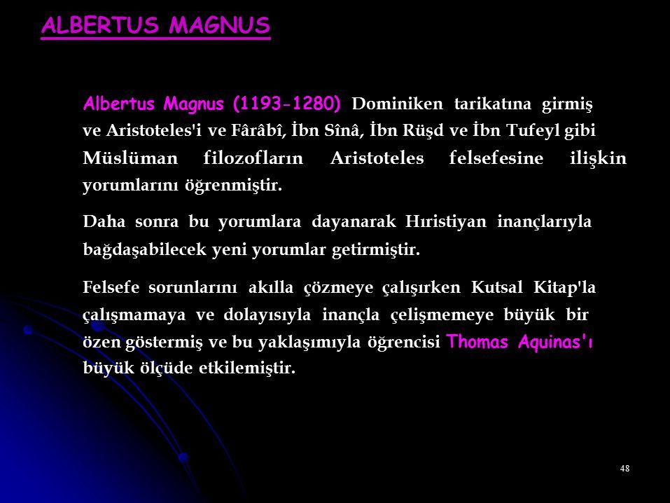 Albertus Magnus (1193-1280) Dominiken tarikatına girmiş
