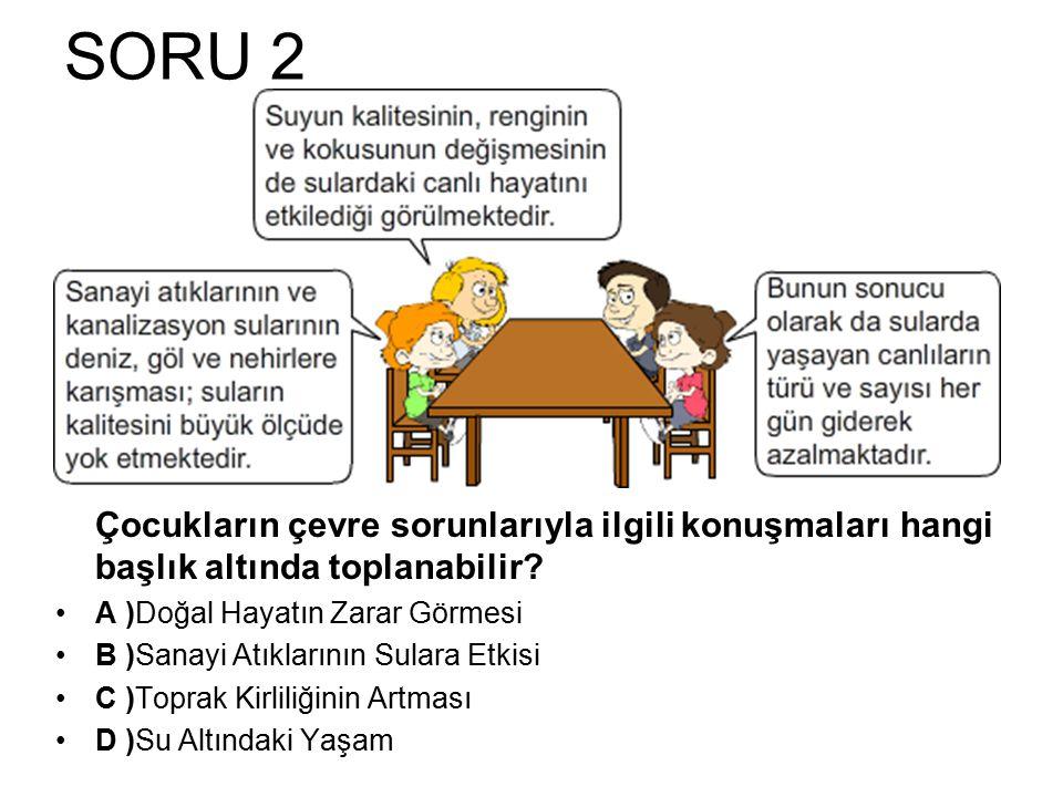 SORU 2 Çocukların çevre sorunlarıyla ilgili konuşmaları hangi başlık altında toplanabilir A )Doğal Hayatın Zarar Görmesi.