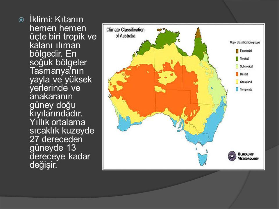 İklimi: Kıtanın hemen hemen üçte biri tropik ve kalanı ılıman bölgedir