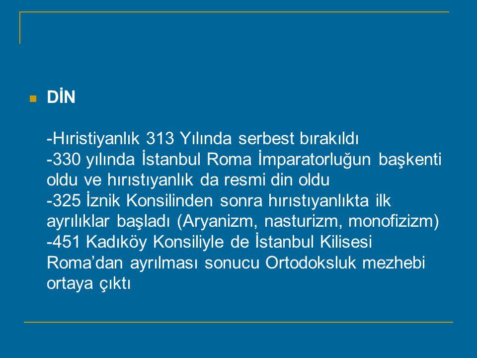 DİN -Hıristiyanlık 313 Yılında serbest bırakıldı -330 yılında İstanbul Roma İmparatorluğun başkenti oldu ve hırıstıyanlık da resmi din oldu -325 İznik Konsilinden sonra hırıstıyanlıkta ilk ayrılıklar başladı (Aryanizm, nasturizm, monofizizm) -451 Kadıköy Konsiliyle de İstanbul Kilisesi Roma'dan ayrılması sonucu Ortodoksluk mezhebi ortaya çıktı