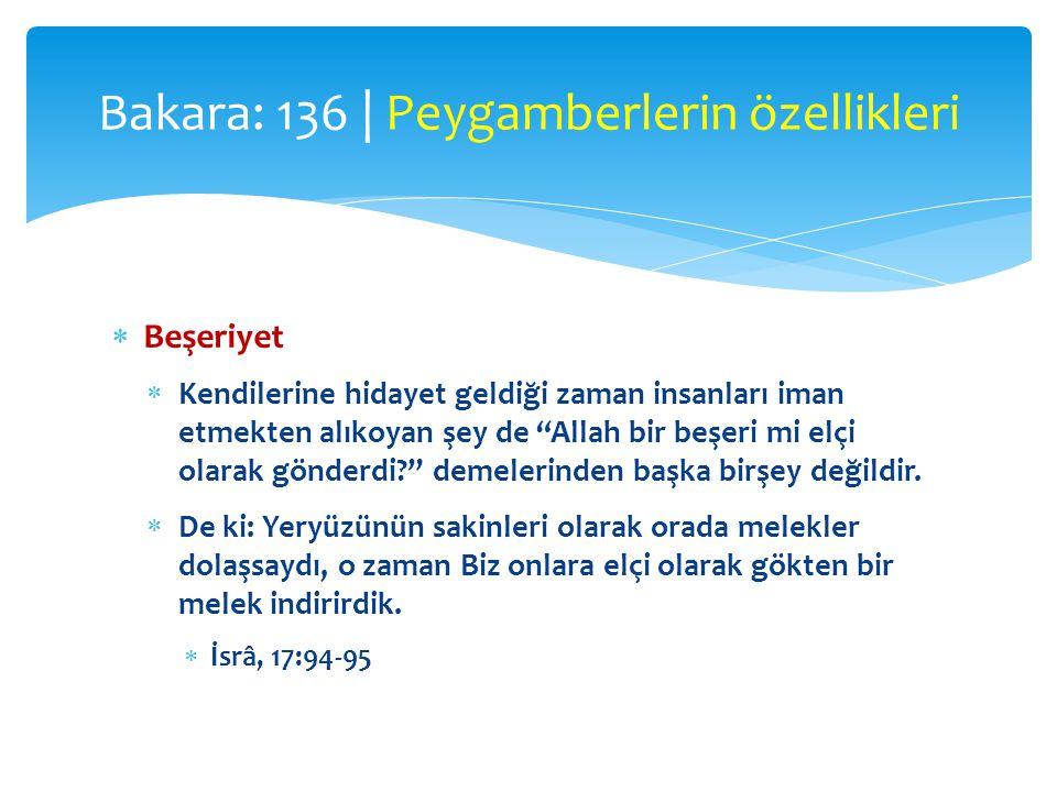 Bakara: 136 | Peygamberlerin özellikleri