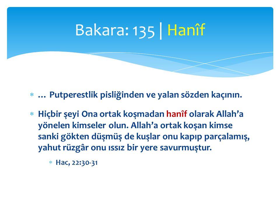 Bakara: 135 | Hanîf … Putperestlik pisliğinden ve yalan sözden kaçının.