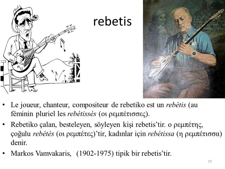 rebetis Le joueur, chanteur, compositeur de rebetiko est un rebétis (au féminin pluriel les rebétissès (οι ρεμπέτισσες).