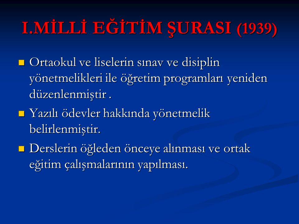 I.MİLLİ EĞİTİM ŞURASI (1939)