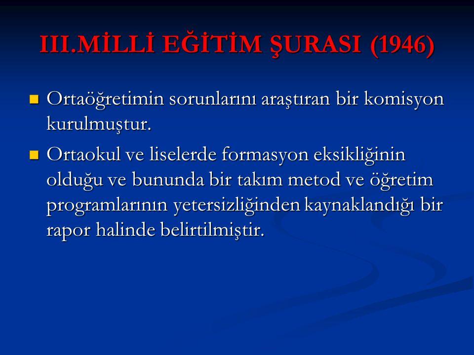 III.MİLLİ EĞİTİM ŞURASI (1946)