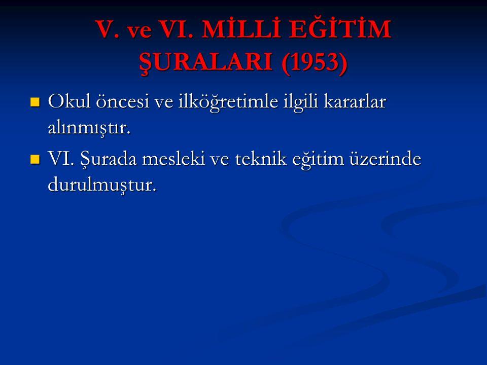 V. ve VI. MİLLİ EĞİTİM ŞURALARI (1953)