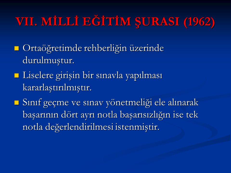 VII. MİLLİ EĞİTİM ŞURASI (1962)