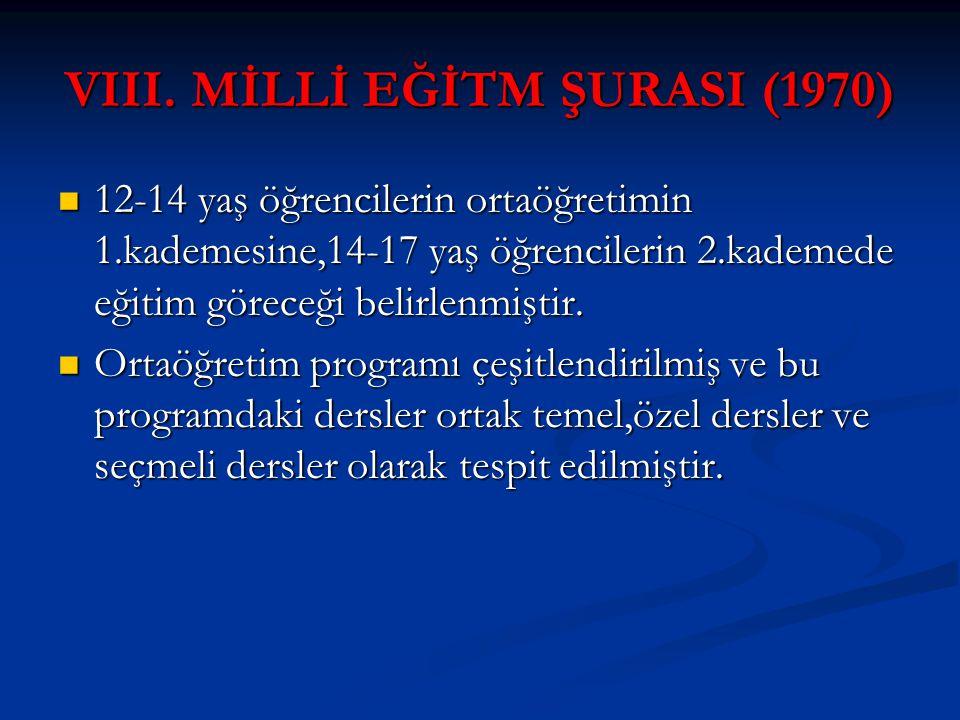 VIII. MİLLİ EĞİTM ŞURASI (1970)