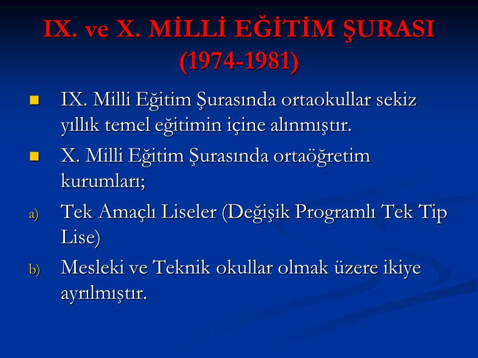 IX. ve X. MİLLİ EĞİTİM ŞURASI (1974-1981)