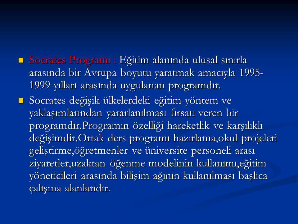 Socrates Programı : Eğitim alanında ulusal sınırla arasında bir Avrupa boyutu yaratmak amacıyla 1995-1999 yılları arasında uygulanan programdır.
